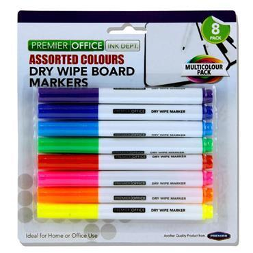 8 COLOURED - WHITEBOARD MARKERS
