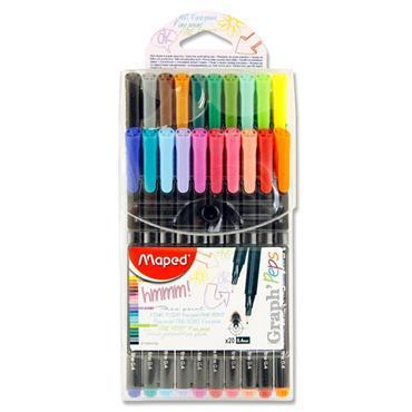 GRAPH' PEPS FINE-LINERS 0.4mm (20 COLOUR) MAPED (LIMITED STOCK!)
