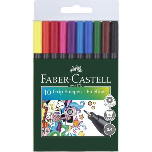 FINE-LINER PENS 0.4mm (10 COLOUR) FABER